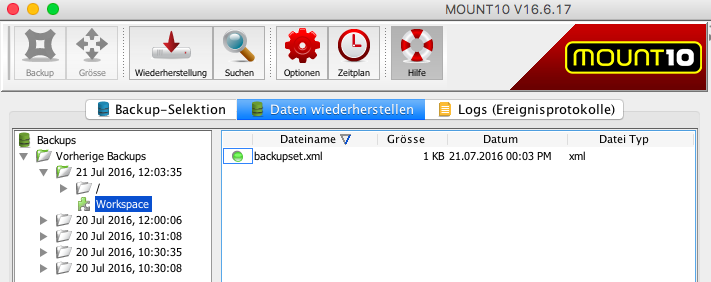 MOUNT10 Datenselektion